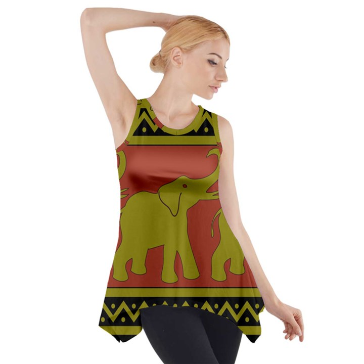 Elephant Pattern Side Drop Tank Tunic