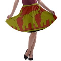 Elephant Pattern A-line Skater Skirt