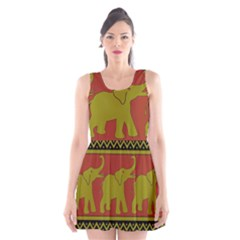 Elephant Pattern Scoop Neck Skater Dress