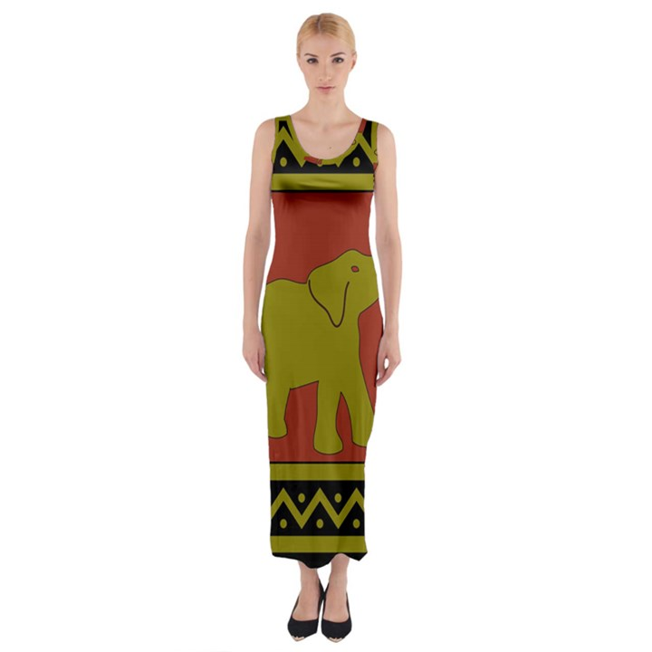 Elephant Pattern Fitted Maxi Dress