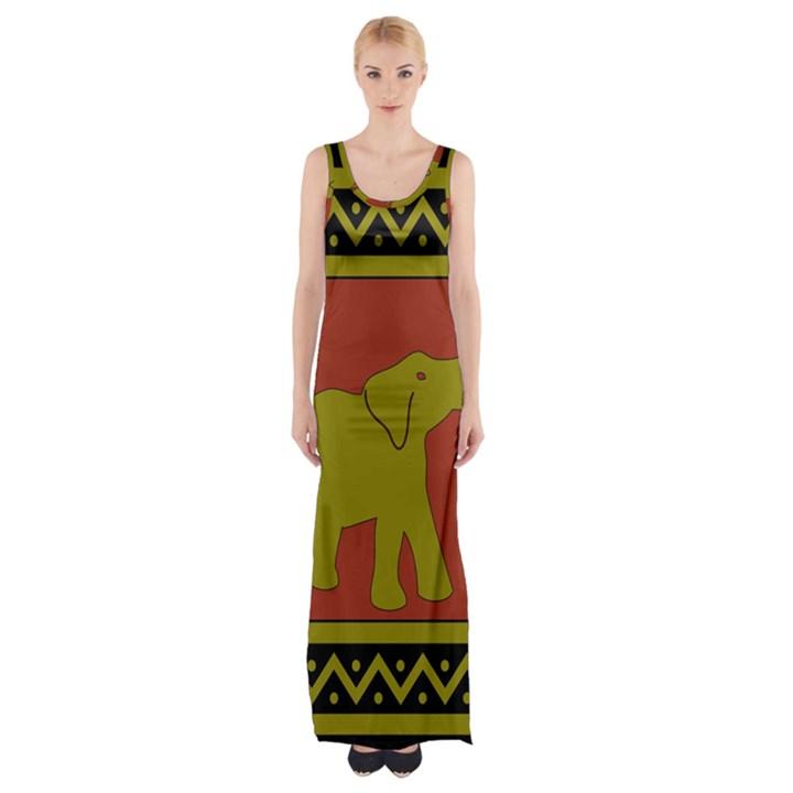 Elephant Pattern Maxi Thigh Split Dress