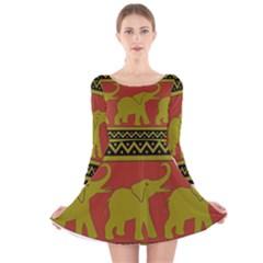 Elephant Pattern Long Sleeve Velvet Skater Dress