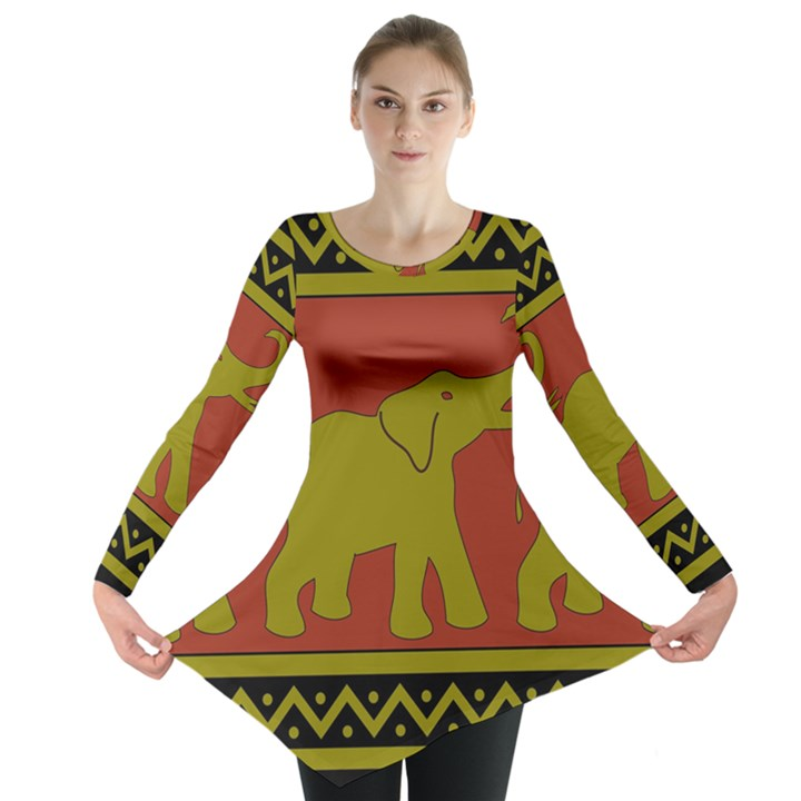 Elephant Pattern Long Sleeve Tunic