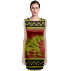 Elephant Pattern Classic Sleeveless Midi Dress
