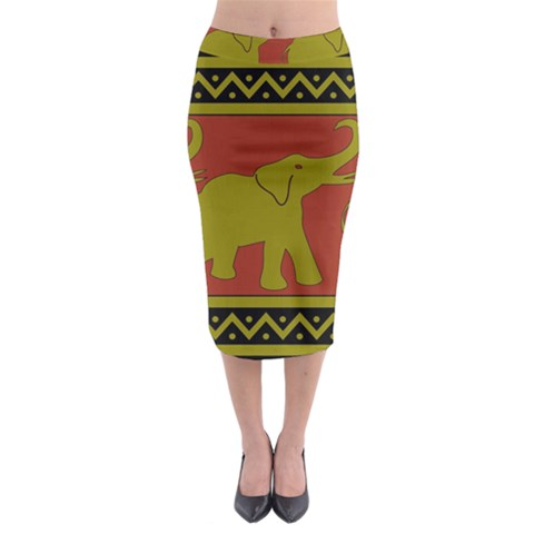 Elephant Pattern Midi Pencil Skirt