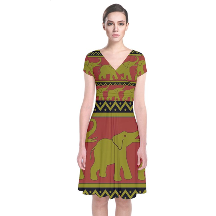 Elephant Pattern Short Sleeve Front Wrap Dress