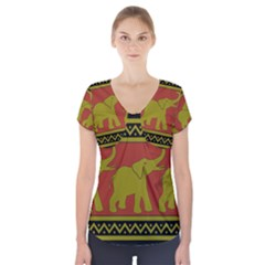 Elephant Pattern Short Sleeve Front Detail Top