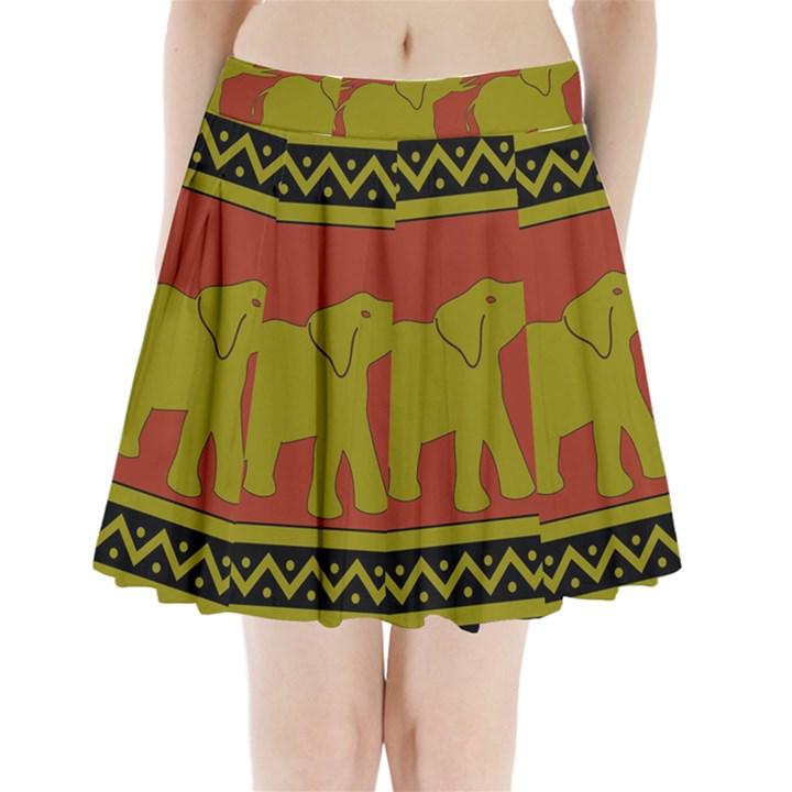 Elephant Pattern Pleated Mini Skirt