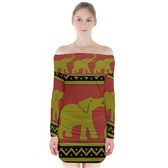 Elephant Pattern Long Sleeve Off Shoulder Dress