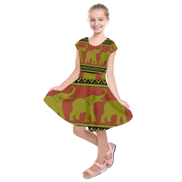 Elephant Pattern Kids  Short Sleeve Dress