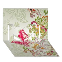 Floral Pattern Background I Love You 3D Greeting Card (7x5)