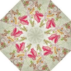 Floral Pattern Background Hook Handle Umbrellas (Large)