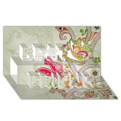 Floral Pattern Background Best Friends 3D Greeting Card (8x4)