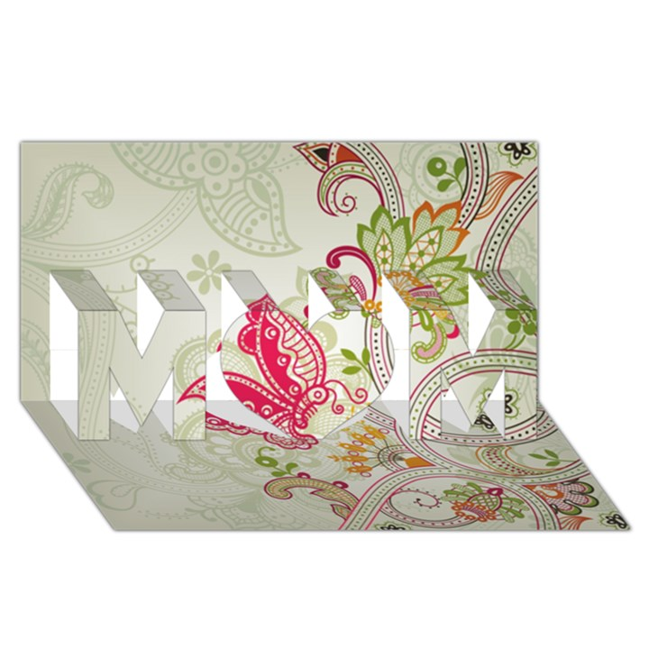 Floral Pattern Background MOM 3D Greeting Card (8x4)