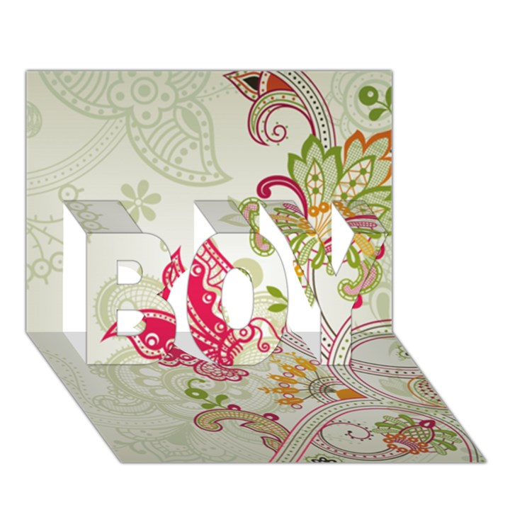 Floral Pattern Background BOY 3D Greeting Card (7x5)