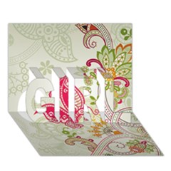 Floral Pattern Background GIRL 3D Greeting Card (7x5)