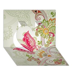 Floral Pattern Background Heart 3D Greeting Card (7x5)