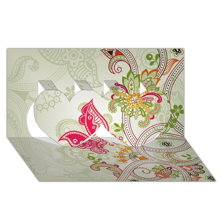 Floral Pattern Background Twin Hearts 3D Greeting Card (8x4)