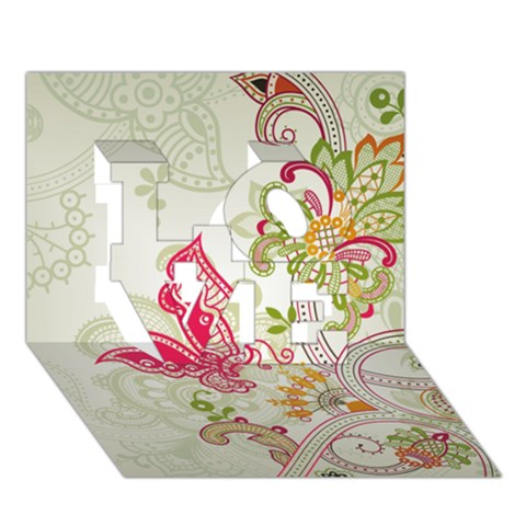 Floral Pattern Background LOVE 3D Greeting Card (7x5)