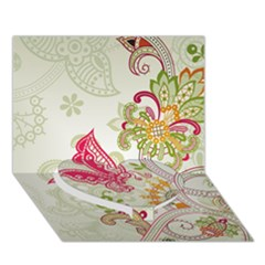 Floral Pattern Background Heart Bottom 3D Greeting Card (7x5)
