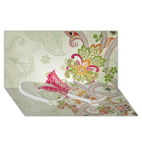 Floral Pattern Background Twin Heart Bottom 3D Greeting Card (8x4)