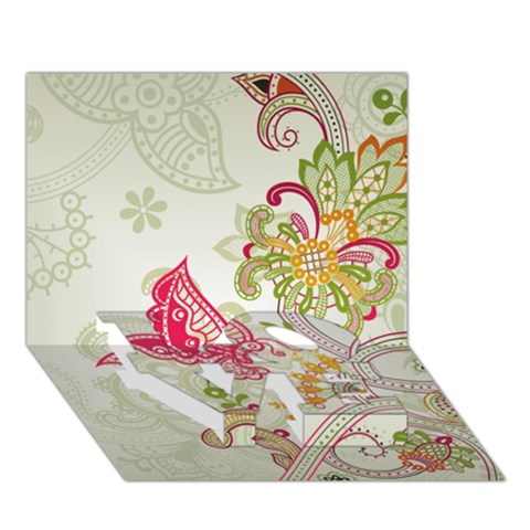 Floral Pattern Background LOVE Bottom 3D Greeting Card (7x5)