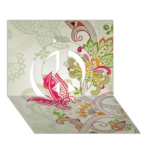 Floral Pattern Background Peace Sign 3D Greeting Card (7x5)