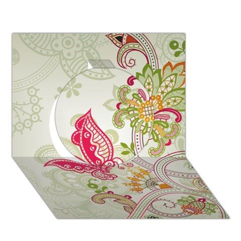 Floral Pattern Background Circle 3D Greeting Card (7x5)