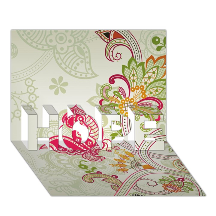 Floral Pattern Background HOPE 3D Greeting Card (7x5)