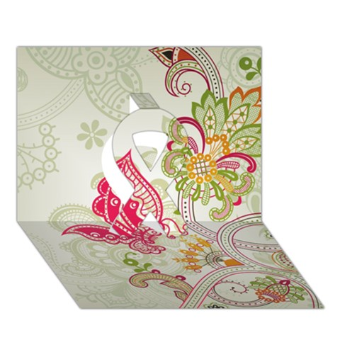 Floral Pattern Background Ribbon 3D Greeting Card (7x5)