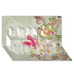 Floral Pattern Background Best Wish 3D Greeting Card (8x4)