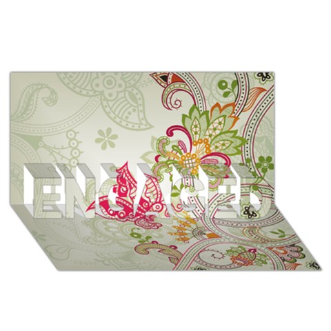 Floral Pattern Background ENGAGED 3D Greeting Card (8x4)