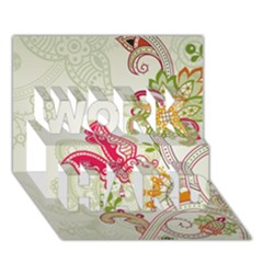 Floral Pattern Background WORK HARD 3D Greeting Card (7x5)