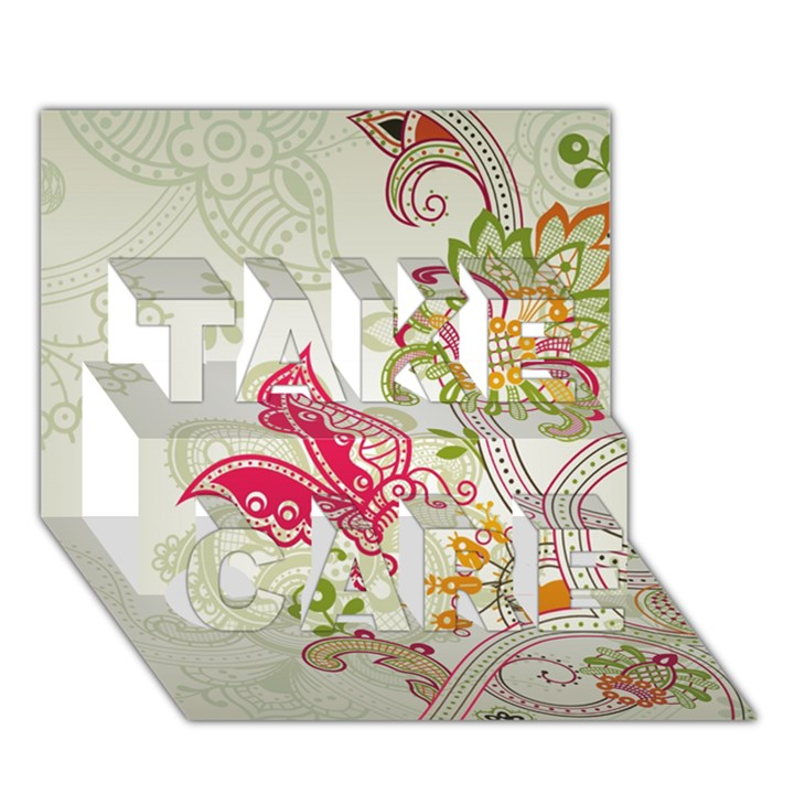 Floral Pattern Background TAKE CARE 3D Greeting Card (7x5)