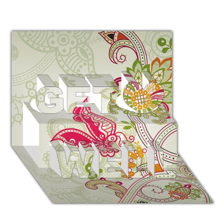 Floral Pattern Background Get Well 3D Greeting Card (7x5)