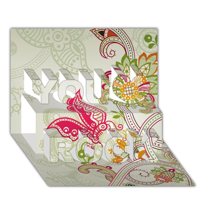 Floral Pattern Background You Rock 3D Greeting Card (7x5)