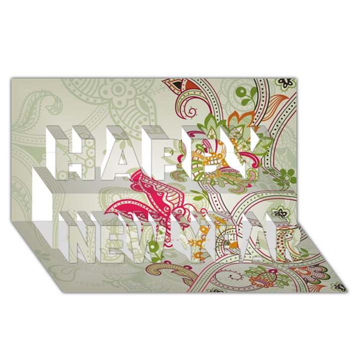 Floral Pattern Background Happy New Year 3D Greeting Card (8x4)