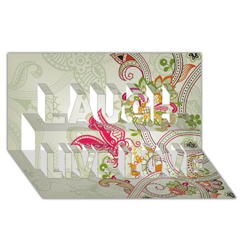 Floral Pattern Background Laugh Live Love 3D Greeting Card (8x4)