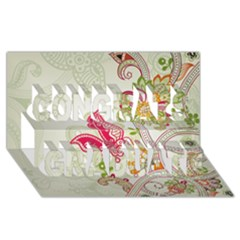 Floral Pattern Background Congrats Graduate 3D Greeting Card (8x4)