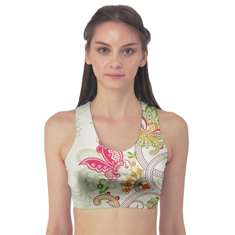 Floral Pattern Background Sports Bra