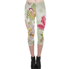 Floral Pattern Background Capri Leggings