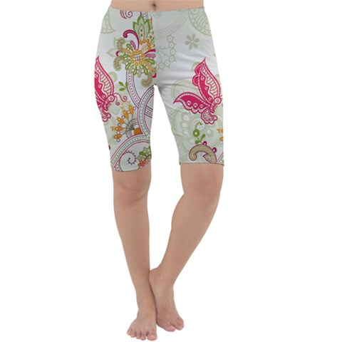 Floral Pattern Background Cropped Leggings