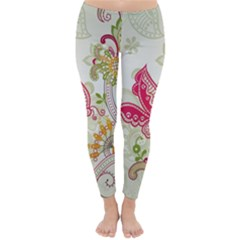 Floral Pattern Background Winter Leggings