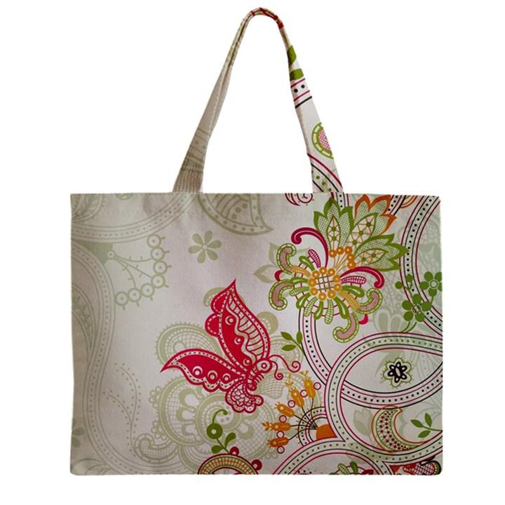 Floral Pattern Background Zipper Mini Tote Bag