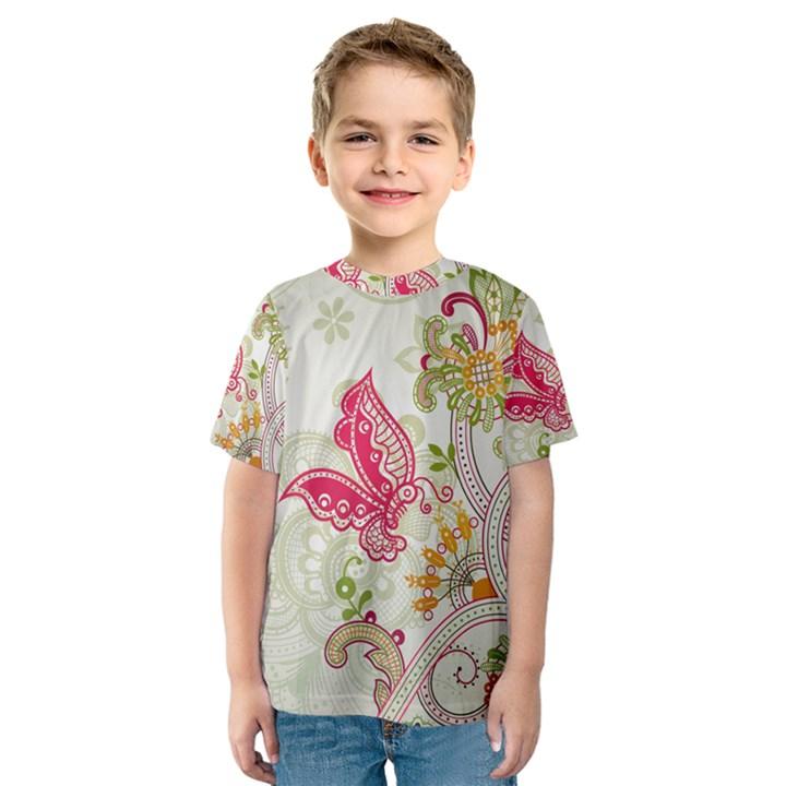 Floral Pattern Background Kids  Sport Mesh Tee