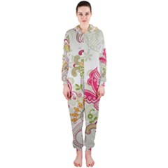 Floral Pattern Background Hooded Jumpsuit (Ladies)