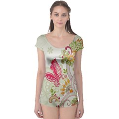 Floral Pattern Background Boyleg Leotard