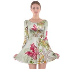 Floral Pattern Background Long Sleeve Skater Dress