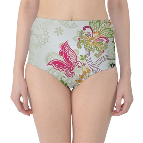 Floral Pattern Background High-Waist Bikini Bottoms