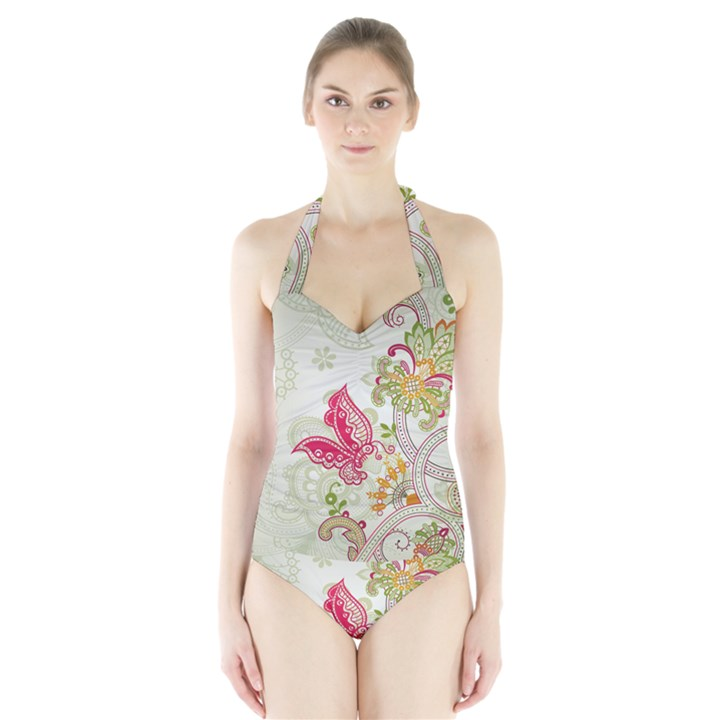 Floral Pattern Background Halter Swimsuit